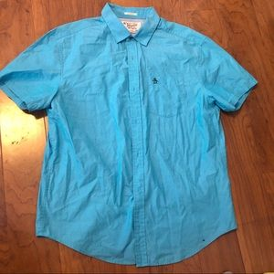 Men's Penguin Blue shortsleeved button down